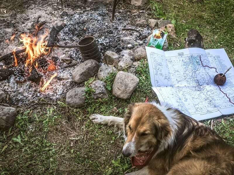 Darcie relaxing by the campfire; photo by Stevie Anna Plummer