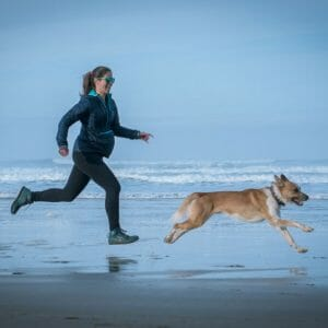 jen sitka and dog on beach